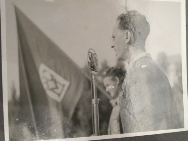 A young, idealistic Communist Party member giving a speech in the late 1940's in Czechoslovakia. At the time, many people there saw communism as the antithesis of Nazism.  This is an old family picture of... Pauline's brother (not Peter).